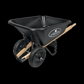 Landscapers Select 34565 Wheelbarrow, Wood Handle, 8 Cu-Ft Heap, Polypropylene Copolymer, 2 Wheels, 16 In
