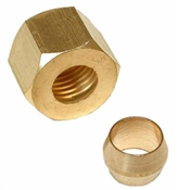 "1/4"" Brass Compression Nut & Sleeve"