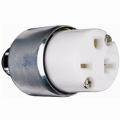 White 20 Amp 250 Volt 3 Wire Armoured Connector