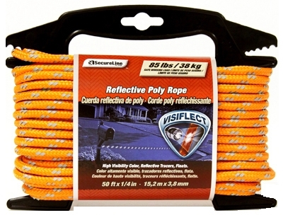 "1/4"" x 50' Visiflect Reflective Poly Rope (Safety Orange)"