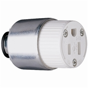 White 15 Amp 125 Volt Armoured Connector
