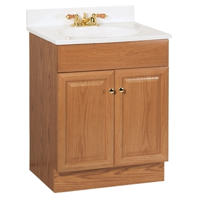 "Richmond 24""  Vanity in Oak Finish with Cultured Marble Top"