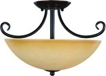 Essex 2 Light Semi-Flush Ceiling Fixture, Classic Bronze