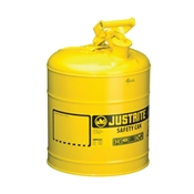 JUSTRITE 7150200 Safety Can, 5 gal Capacity, Steel, Yellow