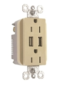 USB Charger, 2-Outlet, 15-Amp, Ivory