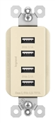 USB Charger, 4-Outlet, 15A,  Light Almond