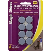 MAGIC SLIDERS 08025 Furniture Slide Glide, 1600 lb Weight Capacity, Polymer-Coated, Plastic, Gray