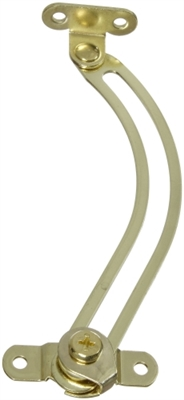 "5"" Curved Left-Hand Friction Lid Support, Bright Brass"