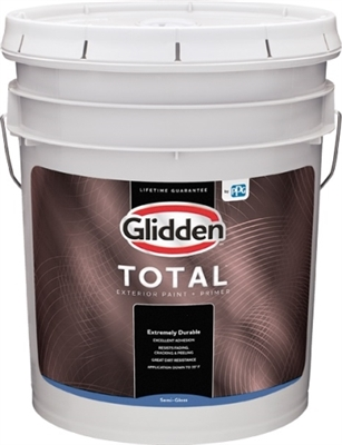 Glidden Total Exterior Semi-Gloss Base Paint+ Primer, White, 5 Gallon