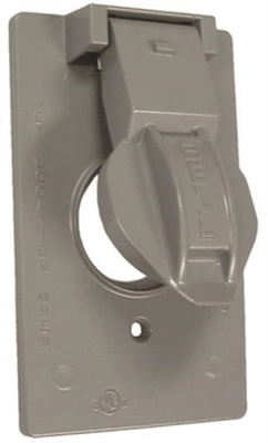 Weatherproof Single-Gang Metal Switch Cover, Gray