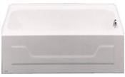 "Eldorado 54"" Porcelain Enameled Steel Left Hand Tub - White"