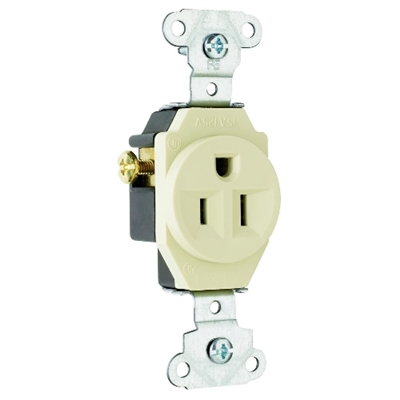 Ivory 15 Amp 125 Volt Single Receptacle