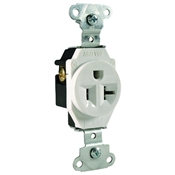 White 20 Amp 125 Volt Commercial Grade Single Receptacle