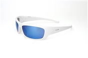 Captain Satin White Full Frame Sunglasses With Flash Blue Mirror Lens