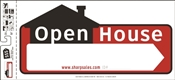 HY-KO SSP-203 Directional Sign, Rectangular, OPEN HOUSE, White Legend, Black/Red Background
