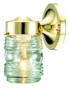 Jelly Jar Outdoor Wall Fixture, Polished Brass