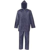 Rain Coat with Hood One Piece Blue - Large