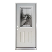 3068 Left Hand Half View Patriot In-Swing Steel Double Bore Door with Satin Nickel Hinges