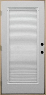 3068 Full View Steel with Mini Blinds IS Prehung Double Bored Door Left Hand