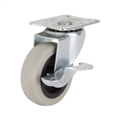 Prosource JC-N06-G Swivel Caster with Brake, 3 in Dia Wheel, 130 lb Weight Capacity, Thermoplastic Rubber Wheel