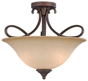 3 Light Antique Bronze Semi Flush Indoor Ceiling Fixture