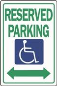 HY-KO HW-32 Parking Sign, Rectangular, RESERVED PARKING, Green Legend, White Background