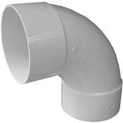 "6"" PVC S&D 90° Sanitary Elbow (HubxHubxHub)"