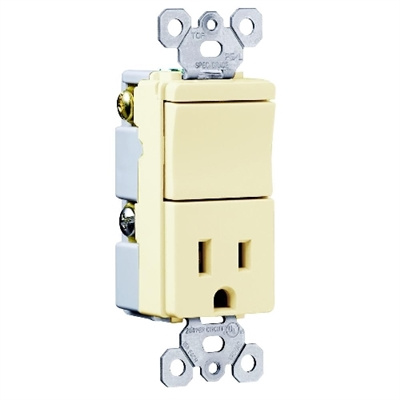 Almond 15 Amp 120/125 Volt Toggle Switch/Receptacle Combination