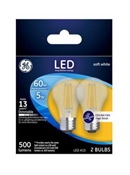 Ceiling Fan LED Light Bulbs, Soft White, Clear, Dimmable, 500 Lumens, 5-Watts, 2-Pk.