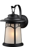 Exterior Wall Lantern,Frosted Glass, Textured Black Finish