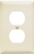 Almond Nylon 1 Gang Receptacle Plate 10 Pack