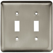 Toggle Wall Plate, 2-Gang, Stamped, Round, Satin Nickel Steel