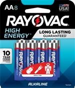 Rayovac 815-8K AA Batteries, 8 Pack