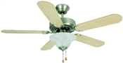 "Wyndham 42"" Tri-Mount Ceiling Fan - Brushed Nickel With Light Kit"