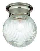1 Light Satin Nickel Globe Indoor Ceiling Fixture