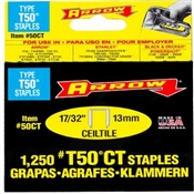 "17/32"" Heavy Duty T50 Staples, 1,250 Pack"