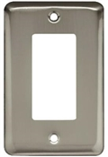 Decorator Rocker/GFI Wall Plate, 1-Gang, Stamped, Round, Satin Nickel Steel