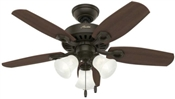 Ceiling Fan with Light, 120 V, 35 W, 3-Speed, 5-Blade, 42 In
