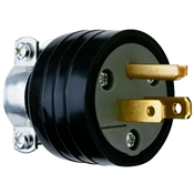 Black 15 Amp 125 Volt 3Wire Plug with Clamp