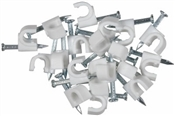 20 Pack, White, Coaxial Nail-on Clip