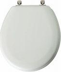 Moulded Wood Round Toilet Seat with Brushed Nickel Hinges - White