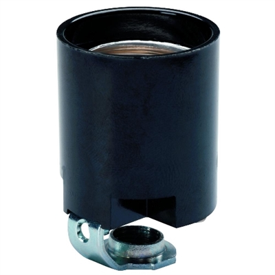 15 Amp Phenolic Lamp Socket Black