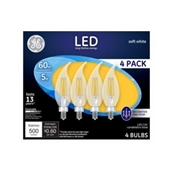 Decorative LED Light Bulbs, Soft White, CAC, Clear, Dimmable, 500 Lumens, 5-Watts, 4-Pk.