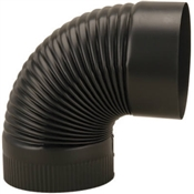 "8"" 24 Gauge Black Corrugated Elbow"
