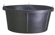 6-1/2 Gallon Rubber Feed Tub With Eyelets, Black