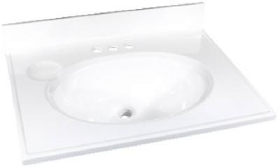"Foremost 25"" x 19"" Cultured Marble 1 Bowl Vanity Top - White"
