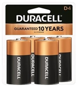 DURACELL MN1300R4Z Alkaline Battery, 1.5 V Battery, 14 Ah, D Battery, Manganese Dioxide, Black