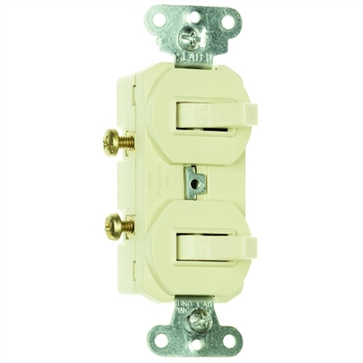 Ivory 15 Amp 120/277 Volt Double Toggle Switch