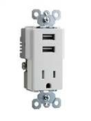 USB Charger Combo with Outlet Receptacle, White, 15-Amp