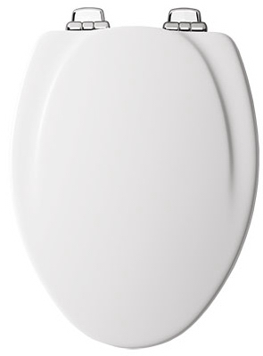 Elongated Molded Wooden Toilet Seat, White with Chrome Hinges